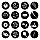 Iconos de los deportes del blanco del vector fijados Foto de archivo