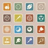 Iconos de los deportes fijados. Fotos de archivo