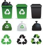 Iconos de los desperdicios ilustración del vector