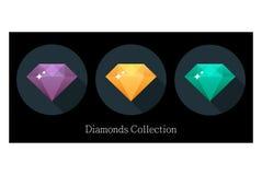 Iconos de los diamantes fijados en diversos colores imagen de archivo