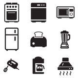 Iconos de los dispositivos de cocina Foto de archivo libre de regalías