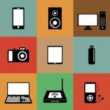 Iconos de los dispositivos electrónicos Fotografía de archivo libre de regalías