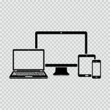 Iconos de los dispositivos electrónicos Foto de archivo