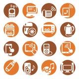 Iconos de los dispositivos electrónicos del color Foto de archivo libre de regalías