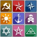 Iconos de los diversos símbolos Fotografía de archivo libre de regalías