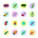 iconos de los E-cigarrillos fijados Imagenes de archivo