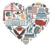 Iconos de los E.E.U.U. bajo la forma de corazón Imagen de archivo libre de regalías