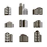 Iconos de los edificios Foto de archivo libre de regalías