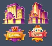 Iconos de los edificios del casino y de los letreros retros stock de ilustración