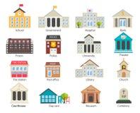 Iconos de los edificios del gobierno del color fijados Foto de archivo libre de regalías