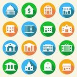 Iconos de los edificios del gobierno planos Foto de archivo libre de regalías