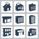 Iconos de los edificios del vector fijados Fotografía de archivo libre de regalías