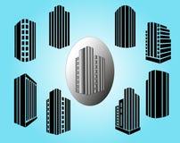 Iconos de los edificios del vector fijados Imágenes de archivo libres de regalías