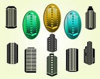 Iconos de los edificios del vector fijados Imagen de archivo
