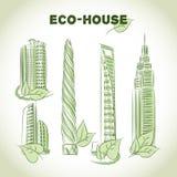 Iconos de los edificios del verde de Eco Fotografía de archivo