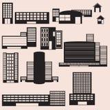 Iconos de los edificios para sus diseños Foto de archivo libre de regalías