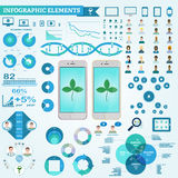 Iconos de los elementos, del doctor y del paciente de Infographic, diagramas Márketing de Digitaces en compañía farmacéutica Fotos de archivo