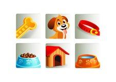 Iconos de los elementos del perro fijados Imagen de archivo libre de regalías