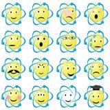 Iconos de los emoticons del átomo fijados stock de ilustración