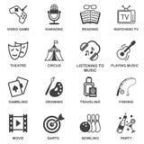 Iconos de los entretenimientos fijados Imagen de archivo