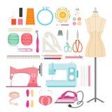 Iconos de los equipos de costura fijados Fotografía de archivo libre de regalías