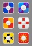 Iconos de los escudos del cuadrado fijados Foto de archivo libre de regalías