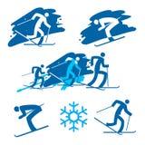 Iconos de los esquiadores Imagenes de archivo