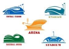 Iconos de los estadios y de las arenas modernos del deporte