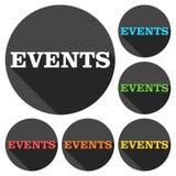 Iconos de los eventos fijados con la sombra larga Foto de archivo