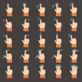 Iconos de los gestos del tacto fijados Fotografía de archivo