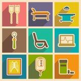 Iconos de los iconos temáticos médicos de la asamblea en plano Foto de archivo