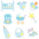 Iconos de los items del bebé Imagen de archivo libre de regalías