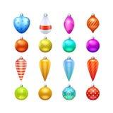 Iconos de los juguetes de la Navidad fijados stock de ilustración