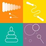 Iconos de los juguetes fijados Línea arte blanca en fondo colorido Fotografía de archivo libre de regalías
