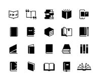 Iconos de los libros negros Sistema del libro de la educación del estudio, colección del negocio de la biblia del diario de la re ilustración del vector