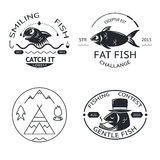 Iconos de los logotipos de los elementos de las etiquetas de los emblemas de la pesca fijados Fotografía de archivo libre de regalías