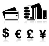 Iconos de los métodos del pago fijados - de la tarjeta de crédito, por el efectivo - Foto de archivo