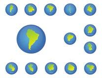 Iconos de los mapas de los países de Suramérica Imagen de archivo
