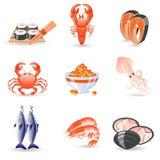 Iconos de los mariscos Imágenes de archivo libres de regalías