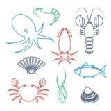 Iconos de los mariscos fijados stock de ilustración