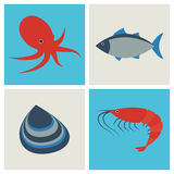Iconos de los mariscos fijados libre illustration
