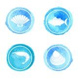 Iconos de los mariscos fijados imagen de archivo
