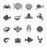 Iconos de los mariscos fijados negros Fotografía de archivo