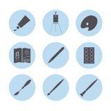 Iconos de los materiales del arte fijados Foto de archivo libre de regalías