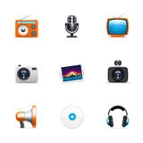 Iconos de los media Imágenes de archivo libres de regalías