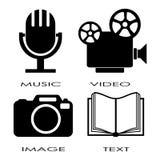 Iconos de los media Imagen de archivo libre de regalías