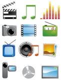 Iconos de los media Foto de archivo libre de regalías