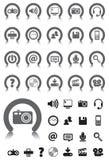 Iconos de los media con el dispositivo gris fotografía de archivo libre de regalías