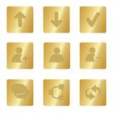 Iconos de los media de la charla   Cuadrado de bronce 01   Fotografía de archivo