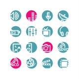 Iconos de los media del círculo Fotografía de archivo